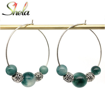 SHELA Red Carnelian Trendy Hoop Earrings for Women 2019 Green White Stones Pendientes Tibetan Silver beads.jpg 350x350 - SHELA Red Carnelian Trendy Hoop Earrings for Women 2019 Green White Stones Pendientes Tibetan Silver beads big circle 35mm
