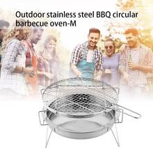 Outdoor Stainless Steel Bbq Grill Small Portable Barbecue Grilled Net Camping Picnic Charcoal Folding