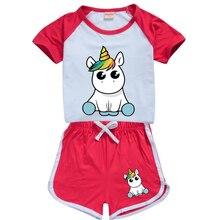 As Meninas da criança de Verão de Manga Curta T-shirt + Calças Roupas Definir unicórnio 2 3 4 5 6 7 8 9 10 11 12 13 14 16 15 Anos Bebê Crianças Outfits