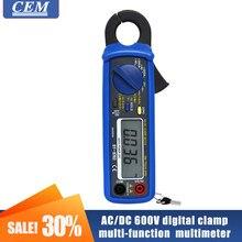 Digital Clamp Meter Multi-função CEM DT-9702 Amperímetro AC/DC 600V Proteção Contra Sobrecarga Resistência Teste De Freqüência Pequenas Garras