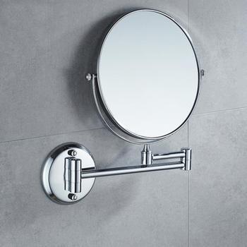 Chrome okrągłe 8 #8222 lustro ścienne Vanity lusterko kosmetyczne dwustronne 3X lustra powiększające łazienka makijaż 360 kąt obrotowe lustra tanie i dobre opinie Miedzi 2-face ROUND Nowoczesne 8 cal Nie posiada Oprawione lustra Metal