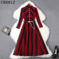 Medium Long Hollow Out Lace Dress Women Casual Wirst Sleeve Red and Black Stripes Sashes Slim Ladies Patchwork Spring Dress