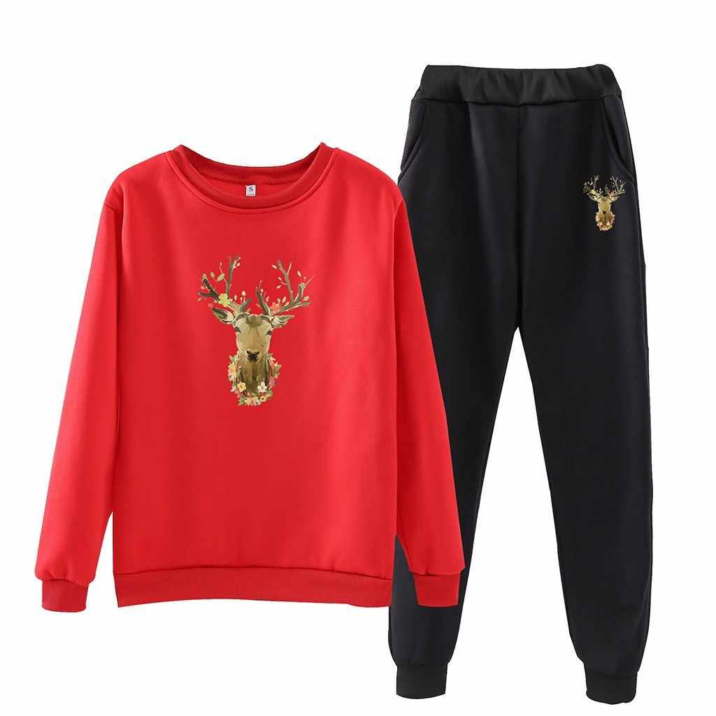 送料ダチョウトラックスーツ女性冬のヘラジカ O ネックカジュアル長袖 Sweatershirt アンサンブルファム 2 枚セット女性プラスサイズ xxxl
