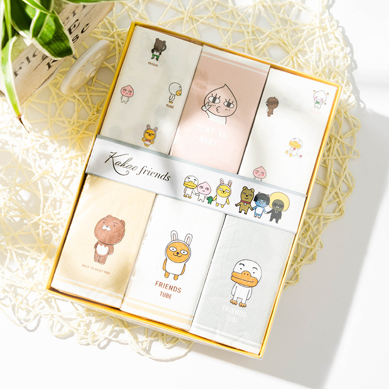 Printed Paper Towel 12 Bag Creative Cartoon Kleenex Crude Pulp Handkerchief Paper Bag Paper Towel Gift Box Manufacturers Wholesa