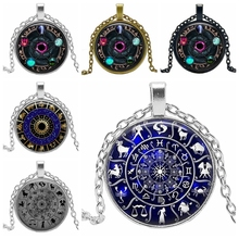 2020 New Year Gift Wiccan Pendant Necklace Zodiac Wicca Pagan Jewelry Glass Round Sweater Chain