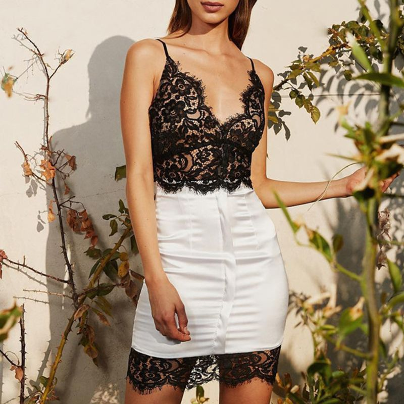 Women Sleeveless Sexy Sheer Eyelash Lace Deep V Neck Mini Dress Faux Silk Patchwork Bodycon Backless Clubwear in Dresses from Women 39 s Clothing