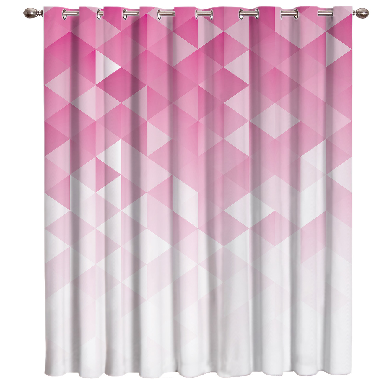 Geometric Gradient With Mosaic Triangle Pattern Window Curtains Dark Living Room Curtain Rod Curtains Bathroom Outdoor Drapes