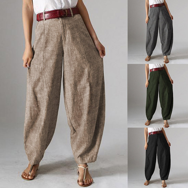 Plus Size Women's Harem Trousers ZANZEA 2019 Autumn Casual Baggy Pants Kaftan Front Zipper Pantalon Cropped Pant Woman Palazzo