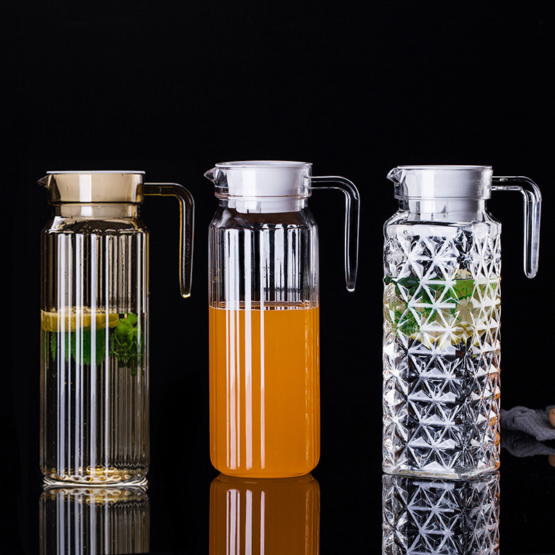 0.5-1.1L Large Water Jugs Pitchers For Juice Milk Tea Transparent Acrylic Plastic Water Pot & Kettle Beverage Container With Lid