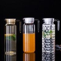 Recipiente plástico acrílico transparente da bebida do potenciômetro de água & da chaleira com tampa 0.5 1.1l grandes jarras de água para o chá do leite do suco Jarros     -