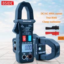 BSIDE Medidor de pinza Digital 600A, valores eficaces auténticos de corriente, amperímetro, rango automático, multímetro DC AC, voltaje Hz Ohm, NCV