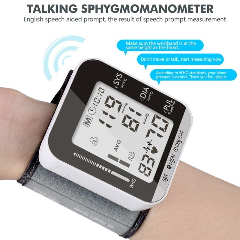 English Or Russian Voice Cuff Wrist Sphygmomanometer Blood Presure Meter Monitor Heart Rate Pulse Portable Tonometer BP