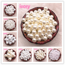 цена на Wholesale 6-16mm Have/No Hole White Ivoy Round Imitation Pearl  ABS Beads Jewelry Findings DIY Earrings Accessories