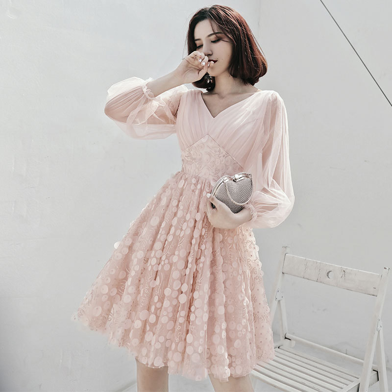 2019 New Fashion Short Party   Dress   Full Sleeve Sexy V-neck Illusion Banquet   Evening     Dresses   Prom Formal   Dress   Haute Couture