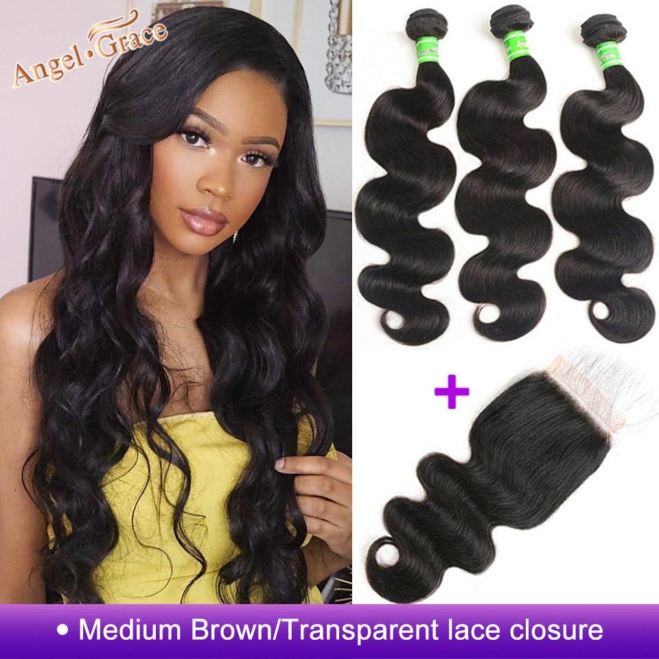 Angel Grace Hair Body Wave Bundles With Closure Remy Human Hair 3 Bundles With Closure Brazilian Innrech Market.com