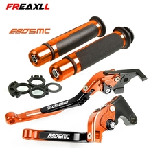 For KTM 690 SMC 2012 2013 Motorcycle Adjustable Folding Brake Clutch Levers Handlebar Hand Grips With Logo