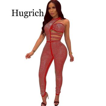 Shiny Rhinestones Sexy Bodycon Jumpsuit Women Waist Band Cut Out Sleeveless Party Bodysuit Elegant One Shoulder One Piece Romper cut out front fringe hem jumpsuit