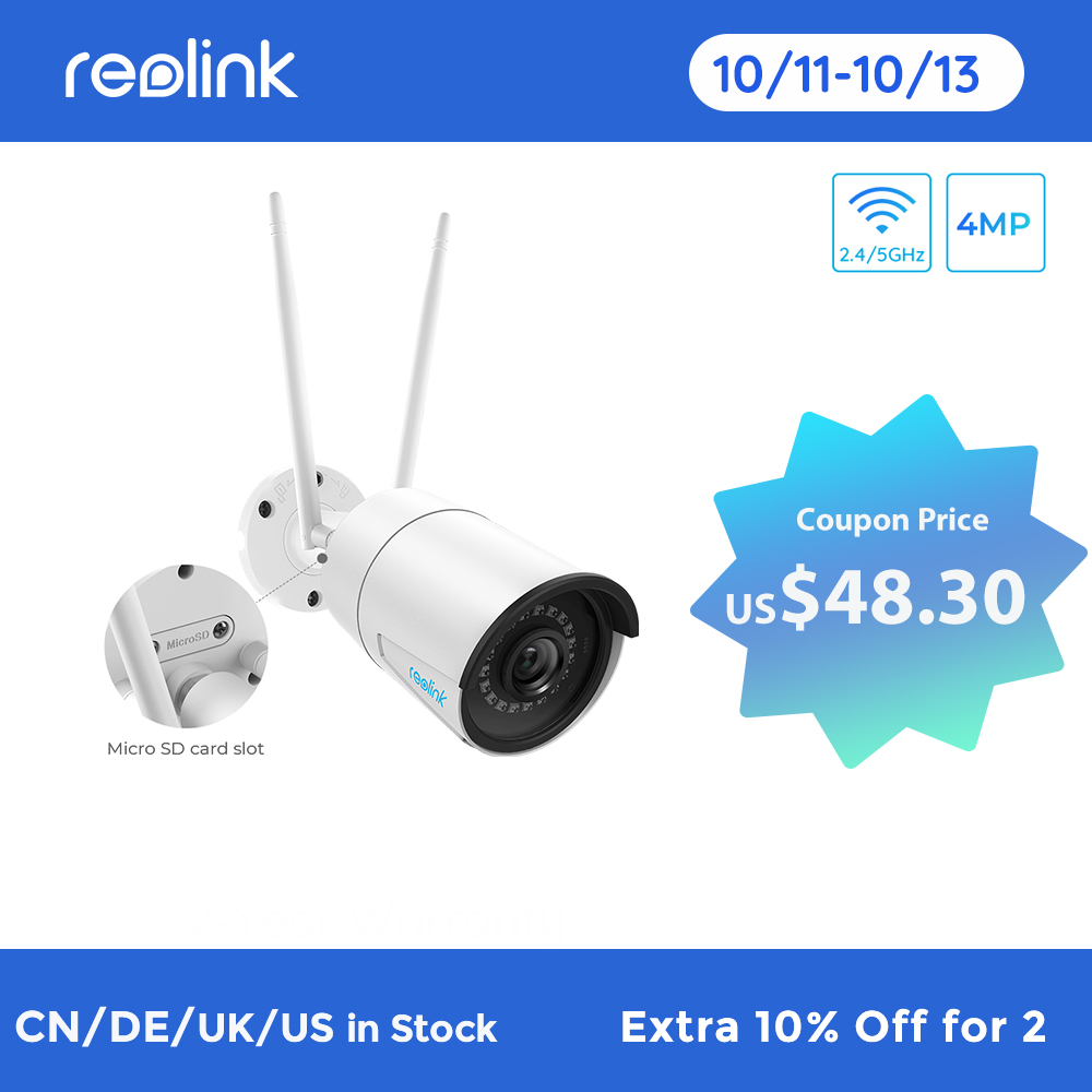 Reolink 4MP wireless ip camera wifi 2.4G/5Ghz Onvif infrared night vision waterproof outdoor indoor home surveillance RLC 410W hd ip cam ip camsecurity cam - AliExpress
