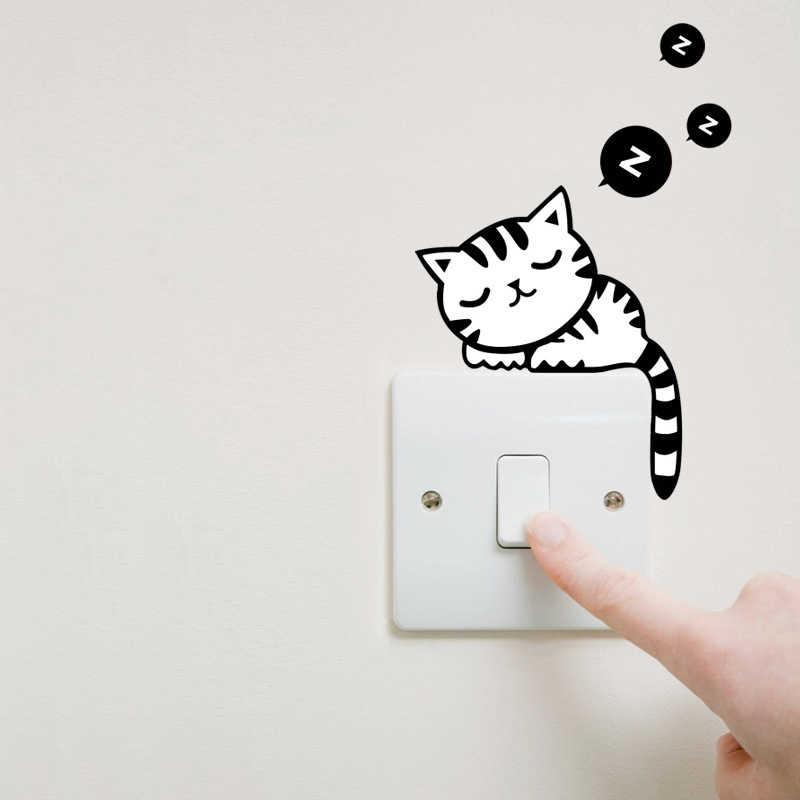 Bonito interruptor adesivo gato dormir estilo decalque da parede removível mural arte decalque da parede adesivo de parede crianças quarto decoração