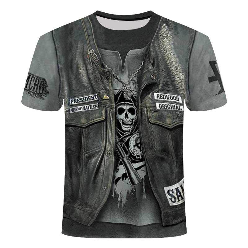 Skull Ghost Flame T-shirt Men Music T-shirts 3d Guitar Tshirts Casual Metal Shirt Print Darkness Gothic Anime Clothes Cool Tops