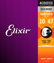 Elixir String Acoustic 80/20 Bronze Guitar Strings with NANOWEB Coating, ALL Models