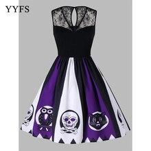 Lace Panel 2019 Women's Bat Pumpkin Halloween Dress Fake Two Vintage Party Dress Half Sleeve Black Orange Swing Dress Plus Size