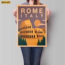 Italia Roma ciudad viaje póster paisaje antiguo pintura Vintage papel Kraft pintado a mano pared arte pegatina decoración para el hogar 42x30cm