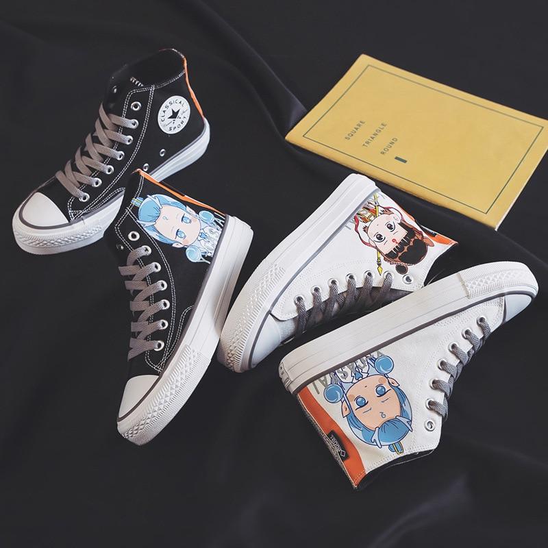 Ev ve Bahçe'ten Ayakkabı Rafları ve Organizatörleri'de Sonbahar yeni stil yüksek üst Graffiti ejderha prens kanvas ayakkabılar kadın yeni stil kore tarzı INS süper yangın sneakers öğrenciler T title=