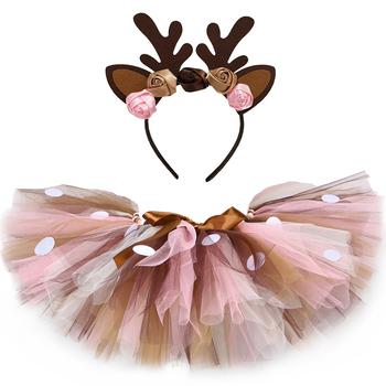 Dzieci dziewczyny Tutu spódnica z pałąkiem na głowę puszyste urodziny dziewczynka Tutu taniec spódnica z tiulu dziewczyny boże narodzenie Deer kostium 0-14Y tanie i dobre opinie HJTT Na co dzień CN (pochodzenie) Pasuje prawda na wymiar weź swój normalny rozmiar NYLON Poliester Wiskoza Zwierząt