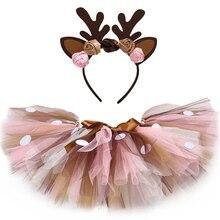 Kids Girls Tutu Skirt with Headband Fluffy Birthday Party Baby Girl Tutu Dance Tulle Skirt Girls Christmas Deer Costume 0-14Y