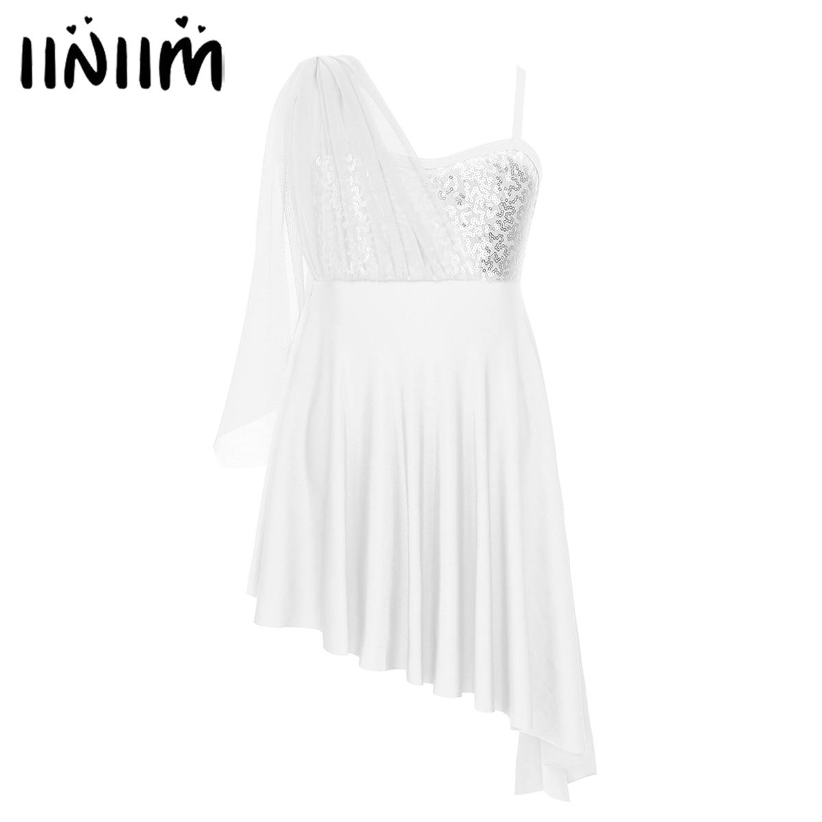 iiniim Teen Girls Tutu Dress Sequins Irregular Hem Dress for Lyrical Modern Dance Contemporary Gymnastics Leotard for Kids