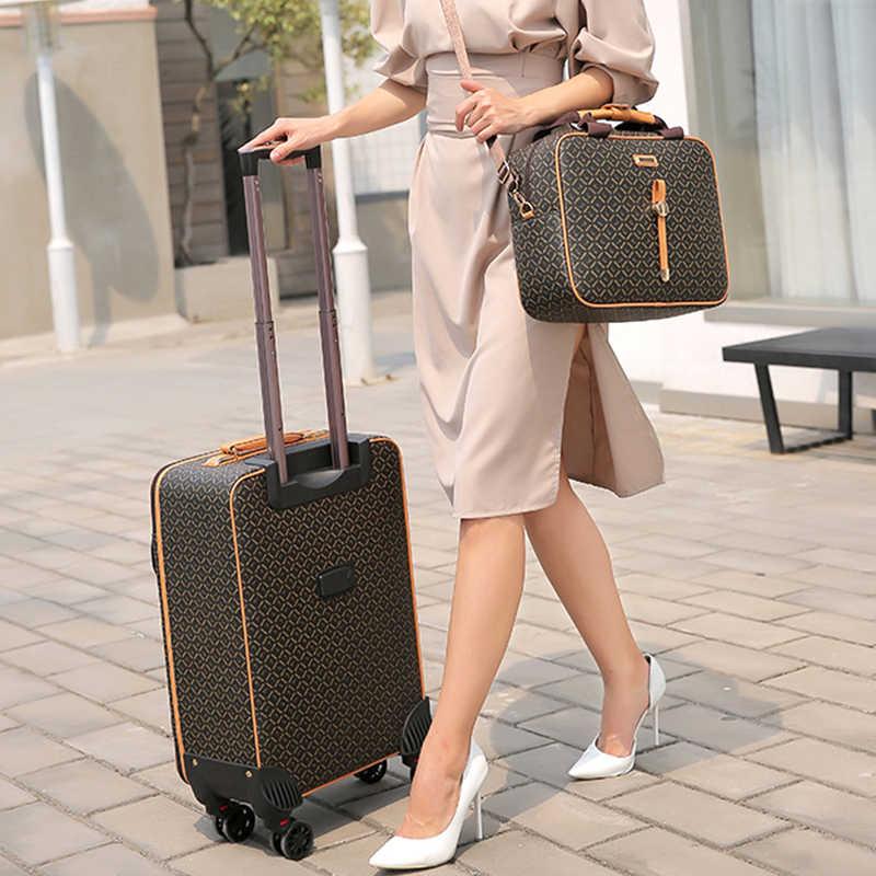 Internationale mode luxe 16/20/24 inch handtas + Rolling Bagage Spinner merk Vrouw reizen Koffer
