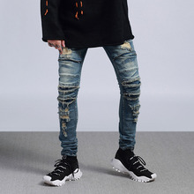 цена на New Men Ripped Biker Jeans Fashion Hip Hop Male Destroyed Skinny Denim Pants Streetwear Slim Fit Jeans Men Clothing
