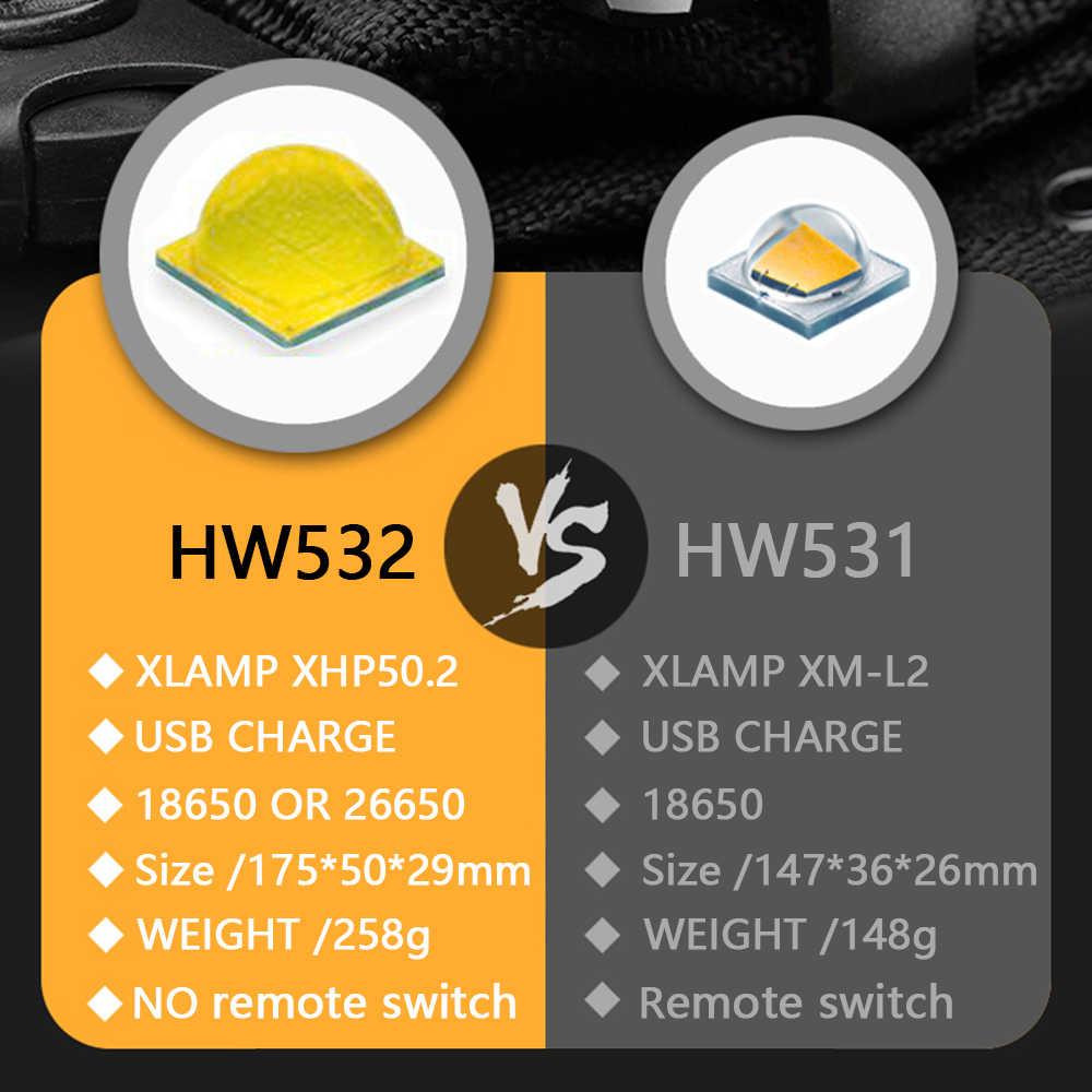 150000cd מקצוע טקטי פנס led USB נטענת 18650 26650 סוללה לפיד עמיד למים ציד אור XML2 XHP50.2 100% מתג שלט רחוק HW531 אחריות לשנתיים החלפה חינם surefir