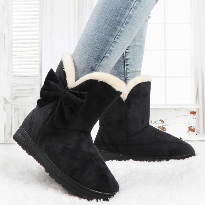 Kadın botları papyon kış kar botları katı kadın yarım çizmeler üzerinde kayma kadın rahat ayakkabılar yuvarlak ayak bayanlar ayakkabı Botas Mujer
