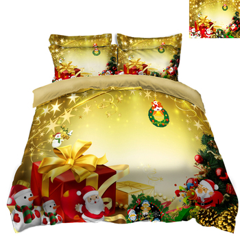 DIY Printed Bedding Christmas Duvet Cover set New Year gift Box  Pattern Double Bedding set Soft Quilt Cover Home Bed set 3pcs