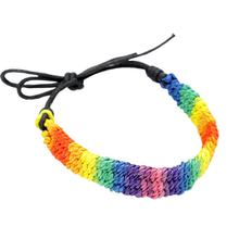 Colorful Hand-Woven Bracelets Rainbow Color Hand Rope Contrast Color Exotic Bracelets Knotted Hand Rope(China)