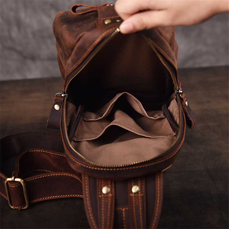 PNDME high quality crazy horse leather men 39 s chest bag retro outdoor casual handmade genuine leather sports phong messenger bags in Waist Packs from Luggage amp Bags