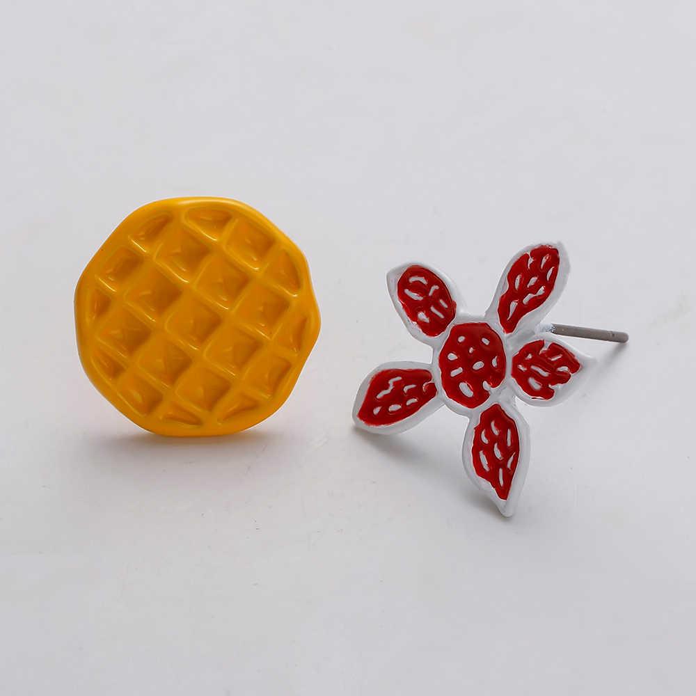 Cute Monster Flower Earrings For Women Red Yellow Trendy Jewelry Round Small Stud Earring Enamel Cute Kids Anime Earrings Gift