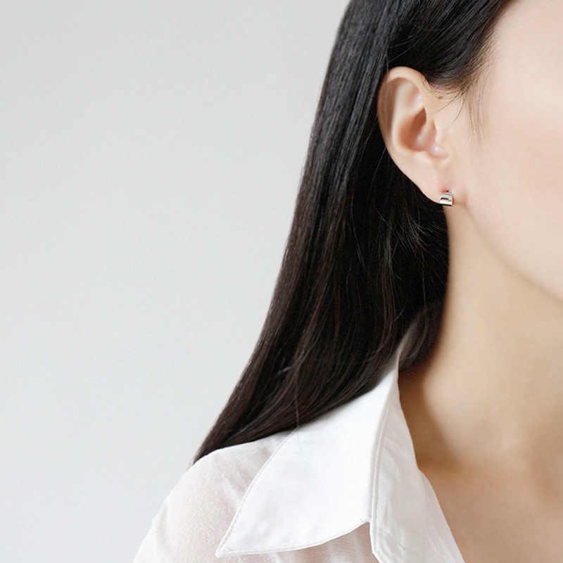 Pendientes De broche geométrico conciso para Mujer, Pendientes bonitos De Plata De Ley 925, joyería fina para Mujer 925