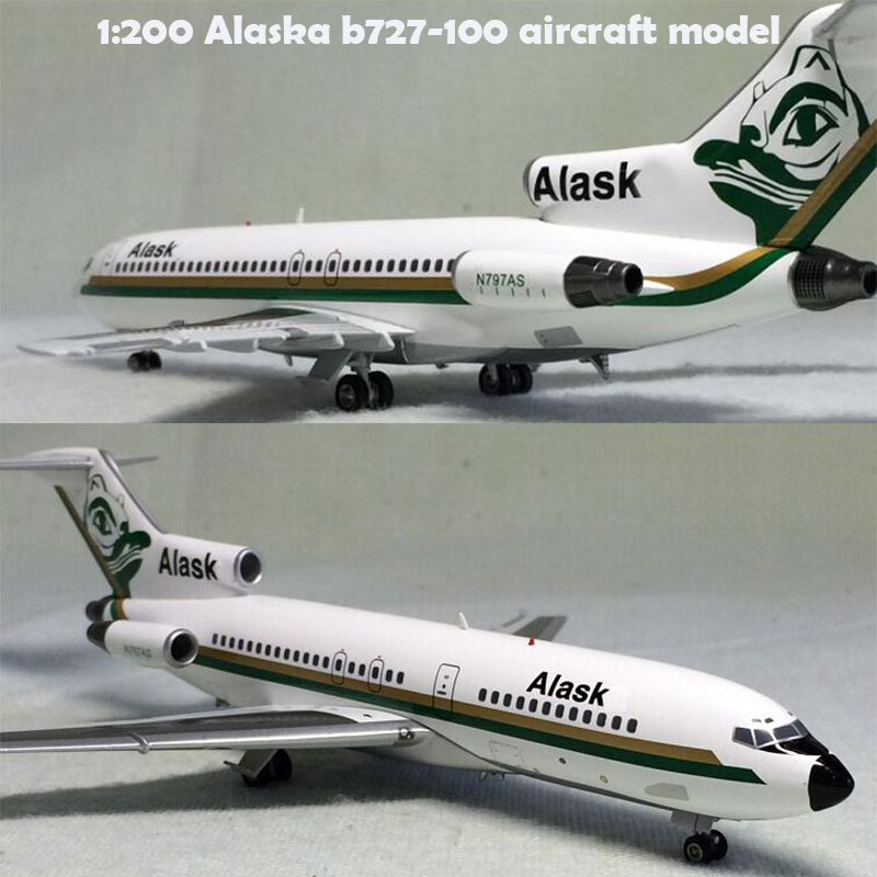 rare fine 1:200 Alaska b727-100 <font><b>aircraft</b></font> <font><b>model</b></font> n797as Alloy collection <font><b>model</b></font> image