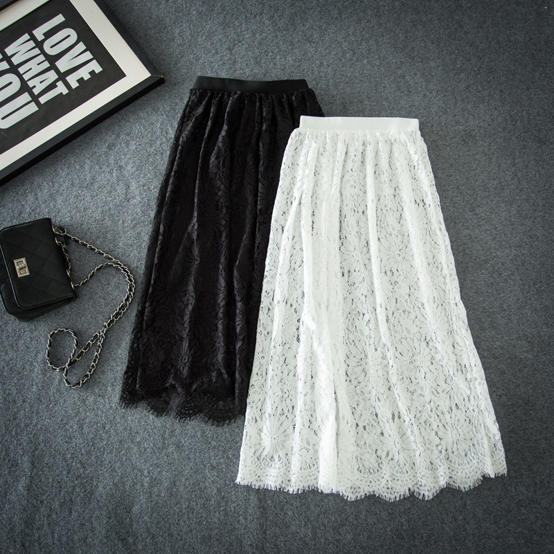 Korean-style Loose-Fit Mid-length High-waisted Hollow Out Lace Half-length Dress Big Skirt Women's Elastic Waist A- Line Skirt