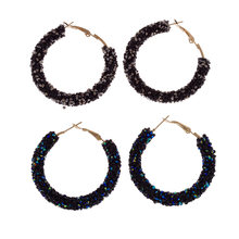 Double Fair Super Fash Hoop For Women Punk Rock Big Crystal Earrings Fashion Jewelry Personality Retro Exaggeration(China)