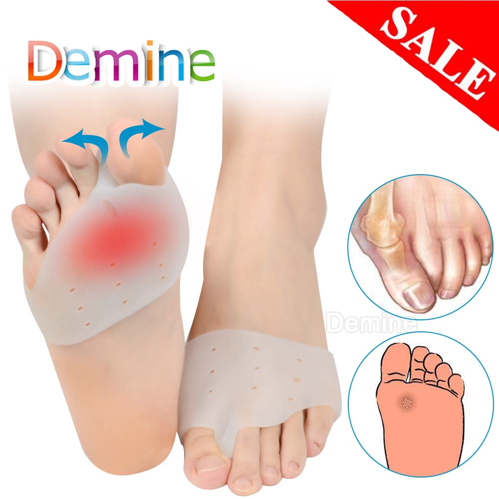 Demine Gel Silicone Hallux Valgus Orthotic Insoles Toe Separator Toe Correction Cushion Forefoot Heel Apply To Bunonia Inserts