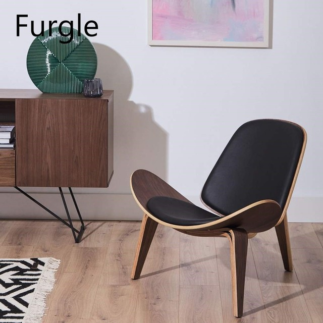 Furgle Mid Century Lounge Chair Replica Shell Chair Modern Tripod Plywood Lounge Chair 3 Wood Colors with Black Leather Chairs 1