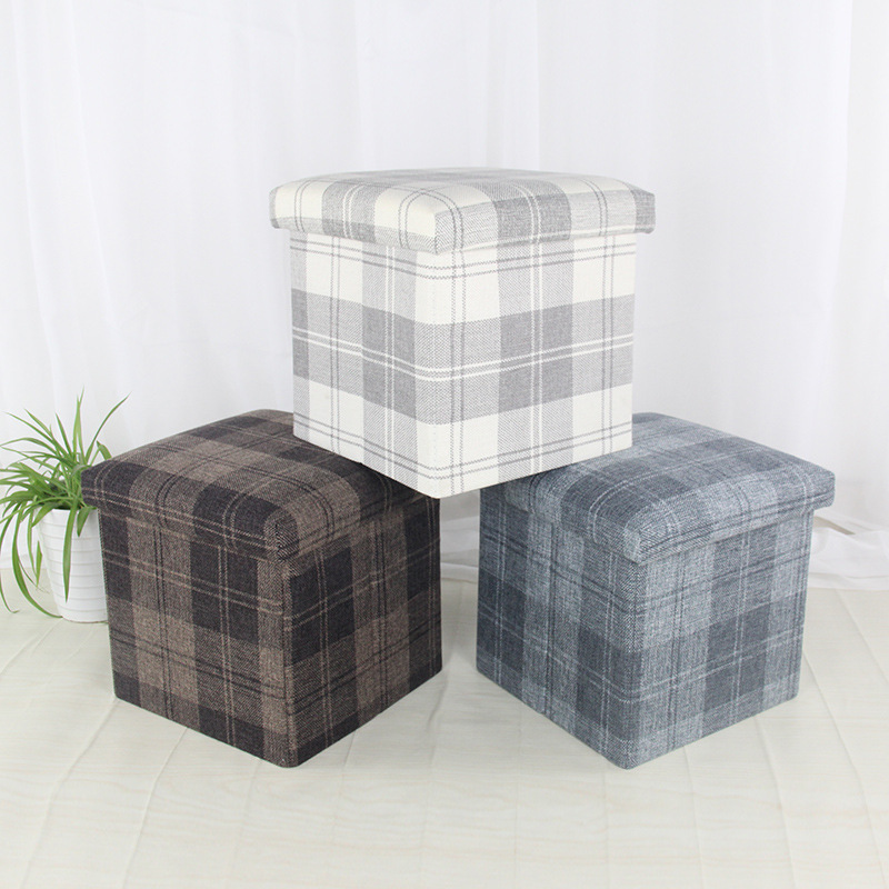 Home Daily Use Northern European-Style Plaid Folding Storage Stool Square Car Mounted Storage Stool