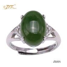 JYX Anillo de jaspe de Jade verde para mujer, de Plata de Ley 925, 10x14mm, joyería ajustable de tamaño