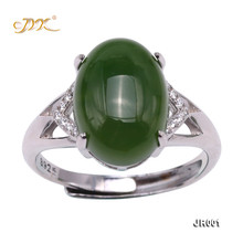 JYX Green Jasper Jade Ring with 925 Sterling Silver 10X14mm Size Adjustable Jewelry for Women