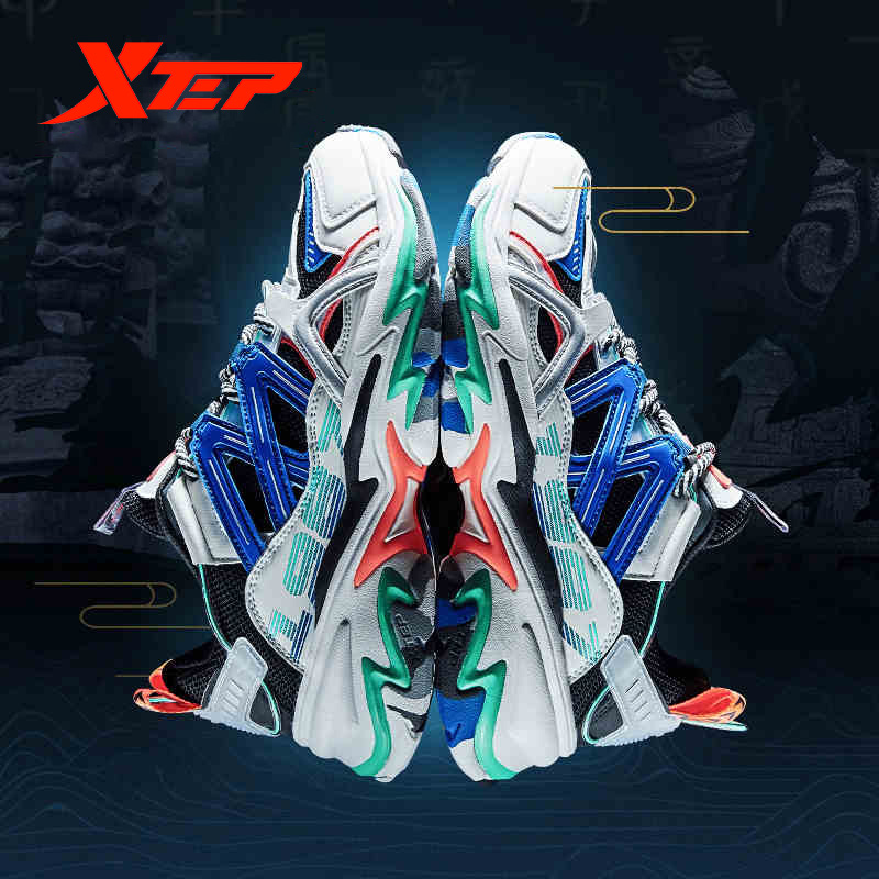 Xtep [Chinoiserie] Men's Mixed Color Chunky Sneakers Male Breathable Air Mesh Dad Shoes Men Urban Tennis Shoe 880119320120