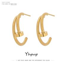 Yhpup minimalistyczne metalowe kolczyki ze stali nierdzewnej dla kobiet luksusowe Rhinestone biżuteria stylowe nieregularne geometryczne złote kolczyki tanie tanio STAINLESS STEEL CN (pochodzenie) Kolczyki-sztyfty GEOMETRIC Kobiety TRENDY moda YH861A Wypychane